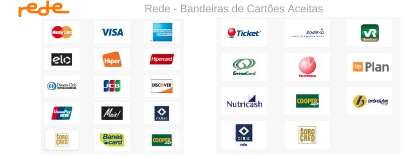 Rede - Bandeiras de Cartões Aceitas